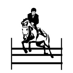 black and white illustration of horseman jumping obstacle