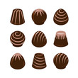Vector set of chocolate candies isolated on white background