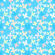 Blue seamless pattern with color butterfly.