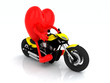 heart with arms and legs on the motorbike