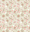 Light cute pattern with flowers, dragonflies