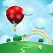 Hot air ballon on fantasy landscape