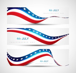 independence day background three header set Vector illustratio