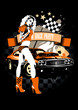 Motor race party design template with beautiful girl and retro c