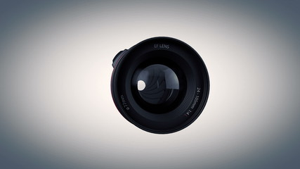 Animation of lens, side view, with alpha.