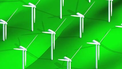 Isometric wind turbine field.