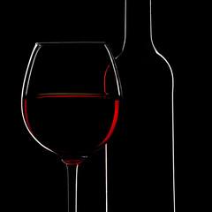 Rotwein und Weinflaschen Silhouette auf schwarz