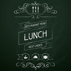 Lunch on the restaurant menu chalkboard.
