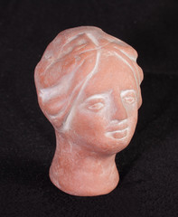 Sculptural portrait of an antique head from ceramics
