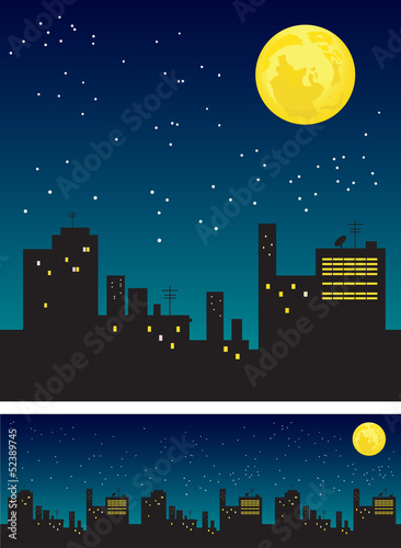 Moon and roofs