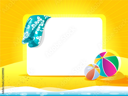 Sea landscape with towel and beach ball
