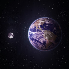 Moon and Earth. Elements of this image furnished by NASA
