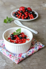 Fresh cottage cheese with garden berries