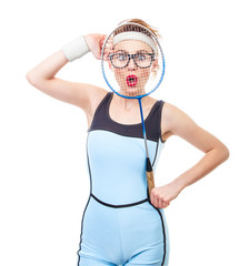 Funny sport girl with racket, isolated on white