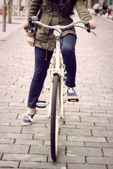 Woman on retro bike