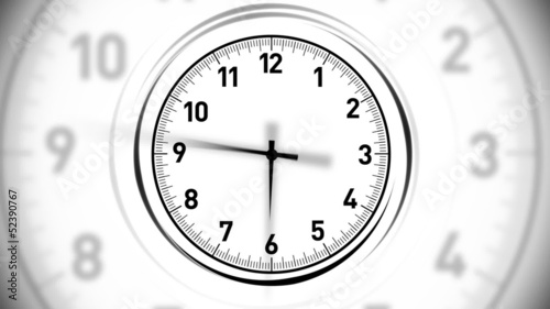 Animated clock. White.