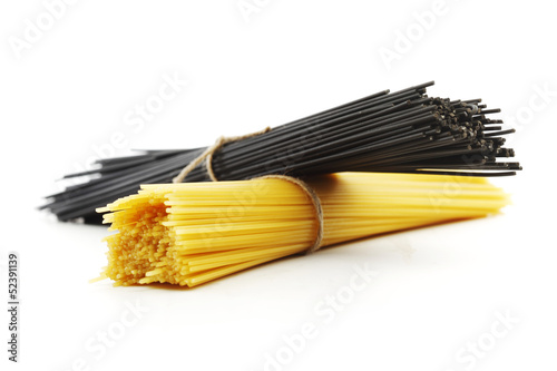 Black and white dry spaghetti