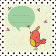 Cute invitation or greeting card template with cartoon bird.