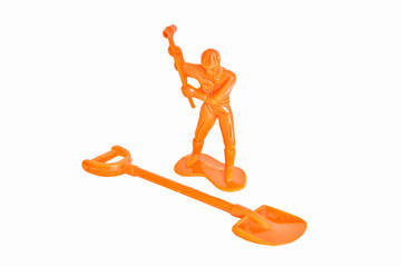 Toy construction worker doll a hammer