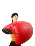 young woman with boxing gloves (white background)
