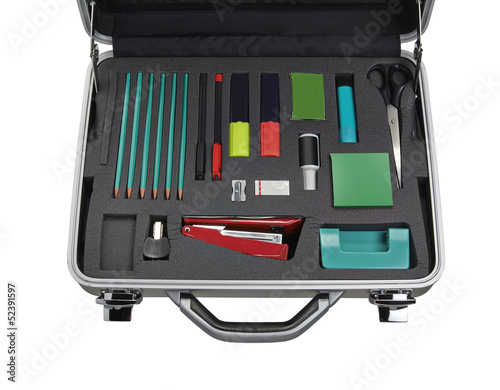Set of stationery items in container