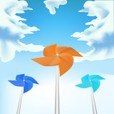 Windmills on sky background, vector