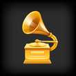 Gold gramophone. Vector