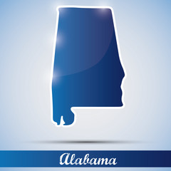 shiny icon in form of Alabama state, USA