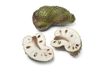 Fresh whole and half soursop fruit