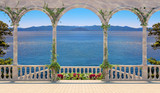 Terrace with colonnade overlooking the sea and mountains