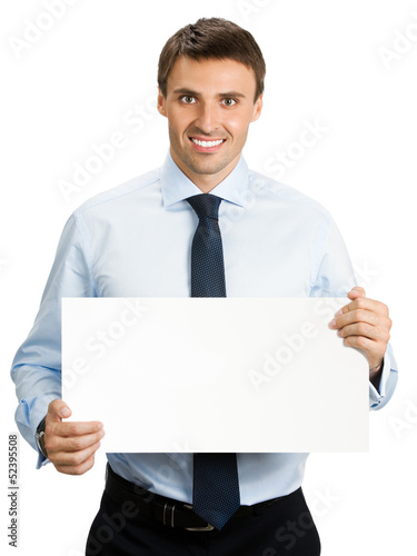 Businessman showing signboard, on white