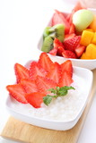 strawberry and fresh fruit on coconut