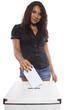 Latin female voter at the ballot box.