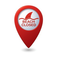 Beach Closed, shark sighting sign on map pointer