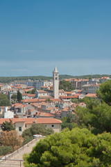 View of the city and the bay from the hill Kastel. Pula. Croatia