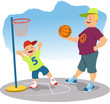 Man playing basketball with a little boy