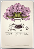 retro card with tea, apricot and bouquet of chrysanthemums