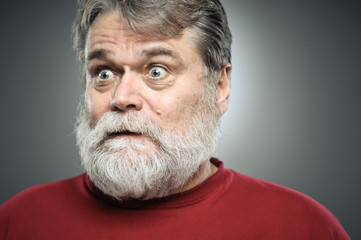 Mature Caucasian Man Surprise Expression Portrait