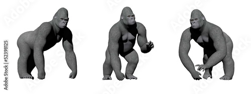 Gorillas hand on the ground - 3D render