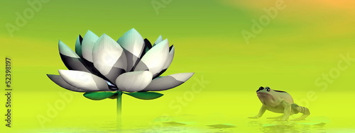 Frog and lotus flower - 3D render