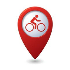 Cyclist icon on map pointer, vector illustration