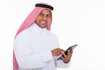 arabian man using tablet computer