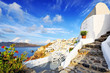 Terrace and stairs at holiday villa in Oia