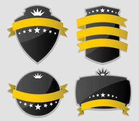 Yellow and black design elements. Set of vector paper stickers.