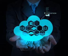 businessman hand showing about cloud network idea concept