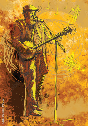 Banjo player (drawing into vector)