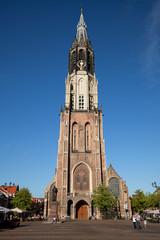 Delft Nieuwe Kerk Cathedral Against Blue Sky