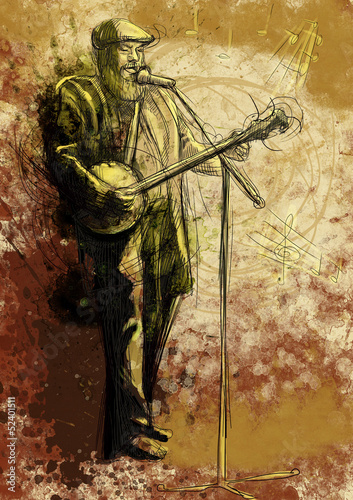 Banjo player (full sized hand drawing) © kuco