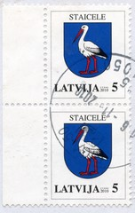 "Canceled latvian stamps ""Staicele"""