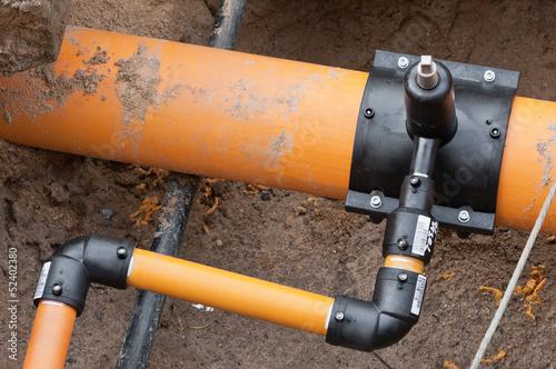 Leinwanddruck Bild Arbeiten an der Gasleitung - neuer Hausanschluss